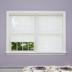 None - Premium White Linen Look Window Shade - Keep your bedroom,living area or office free of harsh light with this convenient window shade. A crisp white finish gives this polyester shade the appearance of linen,with a color-coordinated cassette header for a uniform appearance.