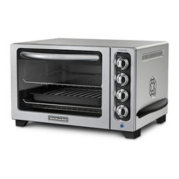 KitchenAid - KitchenAid RKCO223CU Contour Silver 12-inch Convection Bake Countertop Oven (Ref - With a stylishly modern exterior, this KitchenAid countertop convection oven is the perfect piece to complement any kitchen. This oven offers versatile baking solutions with a broiler pan, crumb tray and two steel racks.