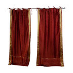 Indian Selections - Pair of Rust Tie Top Sheer Sari Curtains, 43 X 84 In. - Size of each curtain: 43 Inches wide X 84 Inches drop