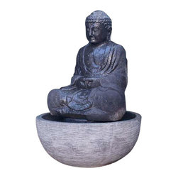 Large Sitting Buddha Fountain-Lava Stone - Bring this sitting Buddha fountain into your outdoor space and relish the serenity if offers. Hand carved from solid lava stone with a unique rough texture and deep hue, this ancient figure will be the highlight of your garden.