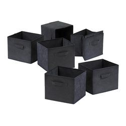 Winsome Wood - Folding Black Fabric Covered Baskets - 6 Pc S - * Capri Collection. Black finish. Fabric. No assembly required. 10.97 in. L x 10.06 in. W x 9 in. H. 1.2 lbs