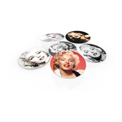 "Custom Photo Factory - Merilyn Monroe Crystal Clear Glass Coaster Sets - Made in the USA. Materials: Smooth tempered glass. Set includes:  (6) drink coasters. Dimensions:  3.94"" x 3.94"" x 3/16"".  Image imprinted on the backside so the item on top of the coaster is never interacting with the print surface. The crystal clarity of our glass coasters delivers reliably uniform color reproductions. Crafters, artists and interior designers will find countless ways to use the features of these glass coasters. This will be the highest quality coasters you've even seen."
