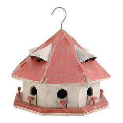 Songbird Essentials - Birdhouse Red Roof Motel - This Bird barns birdhouse is a beautiful reproduction of an antique birdhouse found in Quebec, Canada. The birdhouse has eight separate compartments to give each bird guest privacy in this charming backyard bird retreat.