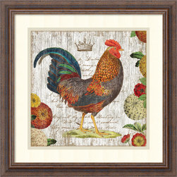 Amanti Art - Suzanne Nicoll 'Rooster I' Framed Art Print 18 x 18-inch - Bring a bit of rustic country charm into your kitchen or dining nook with Rooster I by Suzanne Nicoll.