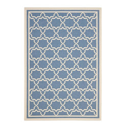 "Safavieh - Courtyard Blue/Brown Area Rug CY6916-243 - 2'4"" x 9'11"" - Safavieh takes classic beauty outside of the home with the launch of their Courtyard Collection. Made in Belgium with enhanced polypropylene for extra durability, these rugs are suitable for anywhere inside or outside of the house. To achieve more intricate and elaborate details in the designs, Safavieh used a specially-developed sisal weave."