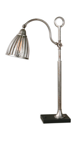 Uttermost - Manchester Metal Accent Lamp - Like an antique street lamp that lit the way back in the day, this rust silver-metal accent lamp is ornate and practical! It features an adjustable shade and matte black foot and would sit well on your desk in the library, den or office.