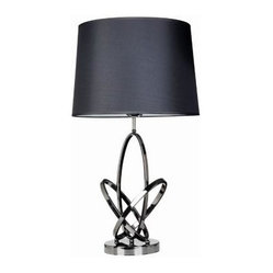 Black Table Lamps: 14.17 in. Mod Art Polished Chrome Table Lamp with Black Shade