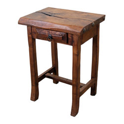Mesquite Wood Traditional Side Table - This Mesquite Wood Traditional Side Table is part of our newest in a line of Rustic Furniture Home Decor. Rough lines, 100% solid mesquite wood construction with matching pieces. Mix and Match. No veneers are used. Hand forged iron drawer pull. The perfect home accent to any Southwest or Colonial decor design style. See ordering information below.