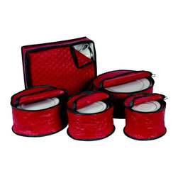 Ricahrds Homwares - Holiday 5 Piece China Storage Set - Red with Green Trim - Store your holiday dinnerware safely in this vinyl storage set from Richards Homewares. This Holiday storage set is red in color with green trim and each case holds up to 12.
