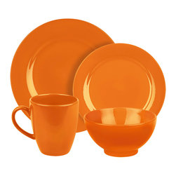 Waechtersbach - Fun Factory Place Setting, Orange, 16 Piece - Bring contemporary style to your table with the Fun Factory Orange 16-Piece Place Setting. Combining clean lines with solid color, this casual dinnerware set was created with everyday meals in mind. Service for four. Includes dinner plate, salad plate, soup/cereal bowl, and mug.