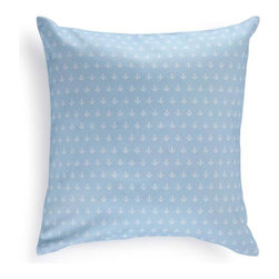 Mediterranean 100% Turkish Cotton Pillow Cover, Blue - The pillow cover will add a marvelous touch of the Mediterranean to your interior. Crafted from the finest 100% Turkish cotton (that's the good stuff), it features a delicate anchor pattern for bit of seafaring appeal.