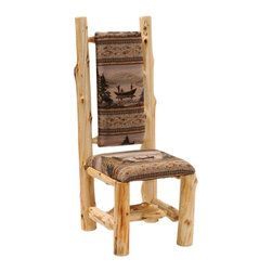Fireside Lodge Furniture - Cedar Upholstered High-Back Log Side Chair (Y - Fabric: Yosemite NaturalCedar Collection. Northern White Cedar logs are hand peeled to accentuate their natural character and beauty. Clear coat catalyzed lacquer finish for extra durability. 2-Year limited warranty. 19 in. W x 19 in. D x 47 in. H (35 lbs.)