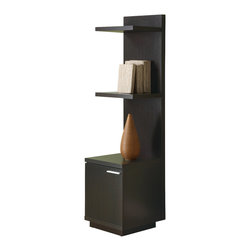 Monarch Specialties - Monarch Specialties 2529 Hollow-Core Audio and Display Tower in Cappuccino - This sleek looking piece has clean lines, in a rich dark cappuccino finish that will complement your home decor. A storage cabinet below three shelves keep items organized and are ideal for books and your favorite decorative accent items.