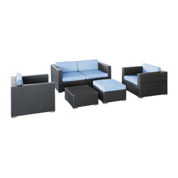 Modway - Modway EEI-607 Malibu 5 Piece Sofa Set in Espresso Light Blue - On the border of the Pacific Ocean lies a place of great peace and quietude. Surrounded by silence, Malibu's soft all-weather light blue fabric cushions and espresso rattan base take you to that place, one relaxing and conducive for interaction with others. Abstract past experiences morph into future discoveries with a warm set that helps expand your horizons.