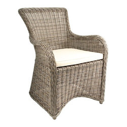 Krista Outdoor Armchair, Gray Kubu Rattan Wicker - Go with classics for your furnishings. Kubu rattan is durable and charming.