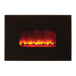 Wall Mount Electric Fireplace, Black Glass
