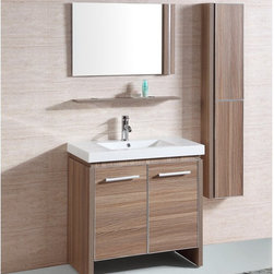None - White Resin 31-inch Single Sink Bathroom Vanity with Matching Mirror and Wall Ca - Update your bath with this vanity with matching mirror and wall cabin. The modern vanity set includes a white resin sink and cabinets with soft-closing doors.
