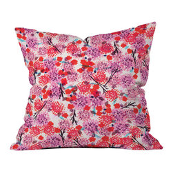 DENY Designs - Joy Laforme Floral Forest Red Throw Pillow - Wanna transform a serious room into a fun, inviting space? Looking to complete a room full of solids with a unique print? Need to add a pop of color to your dull, lackluster space? Accomplish all of the above with one simple, yet powerful home accessory we like to call the DENY throw pillow collection! Custom printed in the USA for every order.