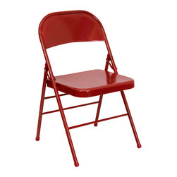 Flash Furniture - HERCULES Series Triple Braced & Quad Hinged Red Metal Folding Chair - When in need of temporary seating this heavy duty all steel red metal chair by Flash Furniture is perfect. This portable folding chair can be used for Parties, Graduations, Sporting Events, School Functions and in the Classroom. This chair will be the perfect addition in the home when in need of extra seating to accommodate guests. The chair will not take up anywhere near as much space as chairs that cannot fold when it comes time to clean up. This economically priced chair will endure some heavy usage with an 18-gauge steel frame, triple braced and leg strengthening support bars.