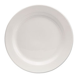 """Office Settings - Office Settings Chef's Table Porcelain Round Dinnerware, Dinner Plate, 10"""" Dia - Sophisticated dinnerware is as durable as it is attractive. Rolled edges and finger-touch grips ensure easy handling, wet or dry. All-white pallet matches any table decor."""