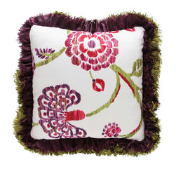Brandi Renee Designs - Watercolor Floral Green Purple Ruffle Pillow - No need for a colorful bouquet of flowers with this vibrant pillow. Of course, some may say the real thing is always better, but these bright petals have a character all their own.