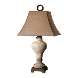 Uttermost - Uttermost Fobello Ivory Table Lamp 26785 - Distressed, crackled ivory ceramic with tan undertones, rustic accents and dark bronze details. The square bell shade is a rusty linen fabric.