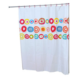 Printed Shower Curtain Vitamine Peva Multicolor - This printed shower curtain Vitamine for bathrooms is in Peva (75 % Eva and 25 % polyethylene). It is transparent with multicolor rounds patterns and is equipped with 12 strengthened eyelets for hanging (12 shower rings needed, sold separately). It will fit perfectly in your shower or bathtub. Prior to hanging, immerse curtain in a bath of warm water to help remove creases. Clean with soapy water only. Width 71-Inch and height 71-Inch. Multicolor. This shower curtain is perfect to add a decorative touch in your bathroom! Complete your Vitamine decoration with other products of the same collection. Imported.