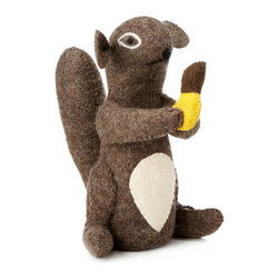 Modern Wool Doorstop - He's chipper. He's charming. And just a little bit cheeky. All this cheerful fellow requires is a spot to sit by the door, and in return he'll hold it open for you like a perfect little gentleman. This adorable squirrel is made from hand-stitched, hand-felted wool, and while he looks sweet and cuddly, he's actually built around a solid core with enough weight to keep your door from being accidentally closed.