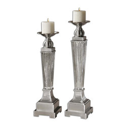 Uttermost - Uttermost Canino Mercury Glass Candleholders (Set of 2) - Ribbed Mercury Glass with Brushed Aluminum Accents. Distressed Beige Candles Included. Sizes: Small - 5x20x5, Large - 5x22x5
