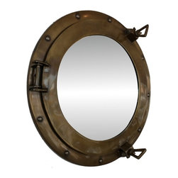Handcrafted Nautical Decor - Antiqued Brass Porthole Mirror 15'' - This Antiqued Brass Porthole Mirror 15''   adds sophistication, style, and charm for those     looking to   enhance       rooms with a nautical theme. This boat    porthole  has a   sturdy, and has an     authentic appearance. The porthole is    made of brass  and  glass which can easily be hung to grace any  nautical   theme wall.  This antiqued brass  porthole mirror     makes  a fabulous style   statement in any room  with    its classic  round      frame, nine   metal-like rivets and two  dog  ears.   This marine  porthole mirror       has an 10'diameter and 3'deep when dog-ears are  attached, 1.5'' deep   without dog ears   attached.----Dimensions: 15'Long x 3'Wide x 15'High--NOTE: Mounting hardware not included with purchase----    Functional porthole mirror that will reflect the light in any space--    --    Handcrafted from solid brass and hand-painted an antiqued finish by our master artisans--    Decorative yet fully functional port hole mirror decor--    Realistic nautical decor - modeled after an antique 19th-century ship's porthole--    --    Great porthole wall decor and an instant conversation piece--