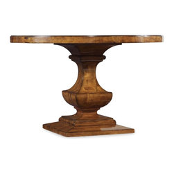 "Hooker Furniture - Tynecastle Round Pedestal Dining Table - White glove, in-home delivery included!  Named for the Tynecastle area of Northern England, the Tynecastle collection is inspired by the manor homes and equestrian life of the English countryside.  Tynecastle combines classic Georgian architechural details with more rustic timber-frame elements and leather accents, creating a ""manor home to tack room"" Hunt Country flavor.  Will seat up to four guests."