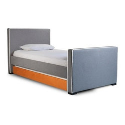 """Dorma Bed - The Dorma Bed is simple, yet sophisticated, and will bring clean lines and distinct style to your child's bedroom. Its sturdy construction and fully upholstered frame make it ideal for your child's first """"real"""" bed or for your teen's modern aesthetic. The Dorma is sure to keep kids comfortable right through their teen years."""