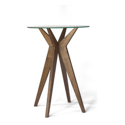 Rexhill Furniture - Jax Table, Walnut - A playful yet polished side table. The simple glass top compliments the mid century inspired wooden base. Available in walnut or oak. The Jax Table is made to order and made by hand.  The 4 to 6 week lead times will be worth the wait.