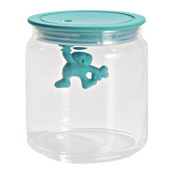 "Alessi - Alessi ""Gianni"" Kitchen Glass Box, Light Blue, Small - A kitchen box in glass with hermetic lid in thermoplastic, Gianni is a little man holding on tight."