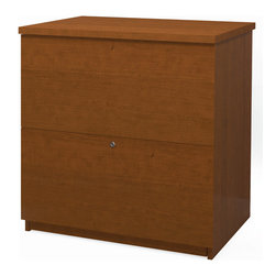Bestar - Standard Lateral File in Cognac Cherry - Two file drawers with letter/legal filing systems. Drawers are on ball-bearing slides for smooth and quiet operation. One lock secures both drawers.