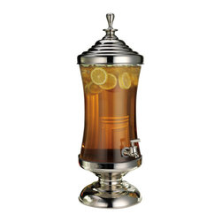 "Godinger Silver - Monticello Glass And Metal Beverage Server - This impressive glass and metal drink dispenser beautifully presents any cold beverage. Easy to store, you can simply take apart the top and bottom metal parts. This piece will surly add definition wherever you display it and will get your parties buzzing. Its great quality plastic spout, covered in stainless to match the top and bottom, will dispense your liquid in a jiff. Give it as a gift to a lovely hostess and get ready for some compliments. * Capacity: 2.5 gallons. * Dimensions: 26H X 9W,spout to table-8""h"
