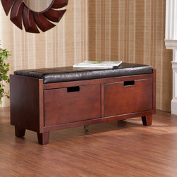 Upton Home - Upton Home Murphy Two Drawer Storage Bench - This Murphy two drawer storage bench features a rich espresso finish with a handsome black seat cushion. Two large drawers below the seat offer ample storage for any entry way or at a foot of the bed.