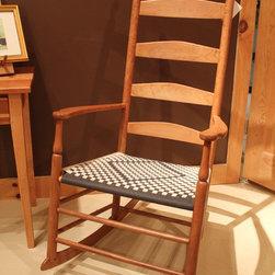 "Shaker Rocking Chair - Enfield Cherry Ladderback Rocker - Shaker Cherry Enfield,NH Rocking Chair with S. Timberlake's ""traditional diamond"" Shaker tape seat pattern"