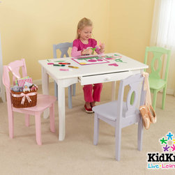 """KidKraft - Brighton Kids' Table and Chair Set - Let your child's creativity soar. Perfect for an art project, game or tea party, KidKraft's Brighton Table make play-time easier to manage. With tapered legs that gently flare out to the floor, and a large central drawer for storing important supplies, this table is crafted to accommodate the growing child. Features: -One central drawer perfect for storage. -Solid wood construction for durability. -Dimensions: 24"""" H x 24"""" W x 36"""" D."""