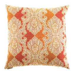 """Canaan - 24"""" x 24"""" Derrington Punch Damask Pattern Print Throw Pillow - Derrington punch damask pattern print throw pillow with a feather/down insert and zippered removable cover. These pillows feature a zippered removable 24"""" x 24"""" cover with a feather/down insert. Measures 24"""" x 24"""". These are custom made in the U.S.A and take 4-6 weeks lead time for production."""