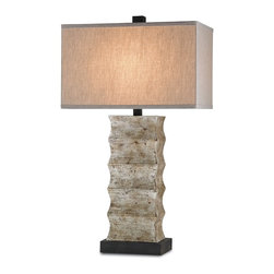 Currey & Company - Wootton Table Lamp - A classic carved wood table lamp in an updated antique silver finish. The natural linen shade completes the look. Can be used in traditional or transitional setting.