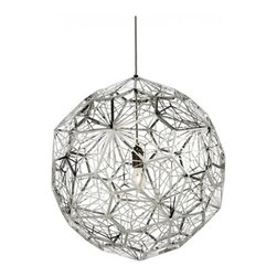 Tom Dixon - Tom Dixon Etch Web Stainless Steel Pendant Light - The Etch Web Stainless Steel Pendant Light is designed by Tom Dixon and made by Tom Dixon. Another experiment in our exploration of mathematics and geometry, a repeated irregular pentagon shape creates the ultimate shadow play pendant light. This is a vast 60cm wide shade with an unusual open structure, designed to cast atmospheric angular shadows when lit. Made from digitally etched stainless steel with an extreme-polished finish giving a jewel-like quality as external light is reflected off the mirrored surface. The Etch Web Pendant Light is a vast shade with an unusual open structure, designed to cast atmospheric angular shadows when lit. An irregular pentagon shape is repeated 60 times across the body to create a total sphere. The enormous globe is astonishingly lightweight with a correspondingly ethereal visual attitude. Formed from stainless steel through a process called digital photo-acid etching, the Etch Web surrounds a halogen lamp to make it the ultimate shadow play pendant.         Product Details: The Etch Web Stainless Steel Pendant Light is designed by Tom Dixon and made by Tom Dixon. Another experiment in our exploration of mathematics and geometry, a repeated irregular pentagon shape creates the ultimate shadow play pendant light.   This is a vast 60cm wide shade with an unusual open structure, designed to cast atmospheric angular shadows when lit.   Made from digitally etched stainless steel with an extreme-polished finish giving a jewel-like quality as external light is reflected off the mirrored surface. The Etch Web Pendant Light is a vast shade with an unusual open structure, designed to cast atmospheric angular shadows when lit. An irregular pentagon shape is repeated 60 times across the body to create a total sphere. The enormous globe is astonishingly lightweight with a correspondingly ethereal visual attitude. Formed from stainless steel through a process called digital photo-a