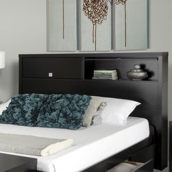 "Prepac - Designer Series 9 Bookcase Headboard - The black Series 9 Designer headboard offers a unique and versatile solution to bedroom storage and style. Flip-up doors reveal 2 generously sized storage compartments. The inset, geometric pulls are recessed so that you won't snag hair or clothes. Features: -Freestanding headboard can be used with any full or queen bed.-Two large storage compartments.-Door with brushed metal inset, geometric pulls flip-up and hide when open.-Keep books and other personal items safely behind the doors, or flip up the doors up to display your decorative items.-Designer Series 9 collection.-Gloss Finish: No.-Frame Material: Laminated composite wood / MDF.-Powder Coated Finish: No.-Hardware Material: Metal, Plastic & Wood.-Non Toxic: Yes.-Scratch Resistant: No.-Adjustable Height: No.-Wood Molding: Profiled MDF tops and moldings.-Lighting Included: No.-Reversible: No.-Media Outlet Hole: No.-Built In Outlets: No.-Number of Shelves: 2.-Adjustable Shelves: No.-Number of Cabinets: 2.-Hardware Finish: Brushed nickel.-Finished Back: No.-Distressed: No.-Hidden Storage: Yes.-Frame Required: No.-Frame Compatibility: Double/Queen.-Swatch Available: No.-Eco-Friendly: Yes.-Product Care: Wipe clean with damp cloth.-Commercial Use: Yes.-Recycled Content: No .-Country of Manufacture: Canada.Specifications: -CARB-compliant, laminated composite woods with a sturdy MDF backer construction.-FSC Certified: No.-EPP Compliant: No.-CPSIA or CPSC Compliant: No.-JPMA Certified: No.-ASTM Certified: No.-ISTA 3A Certified: Yes.-PEFC Certified: No.-General Conformity Certificate: No.-Green Guard Certified : No.Dimensions: -Overall Height - Top to Bottom: 47"".-Overall Width - Side to Side: 66.5"".-Overall Depth - Front to Back: 8.75"".-Overall Product Weight: 80 lbs.-Shelf Height: 8.25"".-Shelf Width - Side to Side: 31"".-Shelf Depth - Front to Back: 7.5"".Assembly: -Assembly Required: Yes.-Tools Needed: Screw driver & Hammer.-Additional Parts Required: No .Warranty: -Includes a 5-year manufacturer's limited parts warranty."