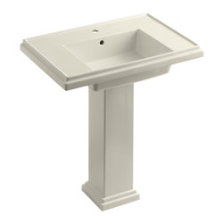 "KOHLER - KOHLER K-2845-1-47 Tresham 30"" Pedestal Lavatory w/ Single-Hole Faucet Drilling - KOHLER K-2845-1-47 Tresham 30"" pedestal lavatory with Single-Hole Faucet Drilling in Almond"