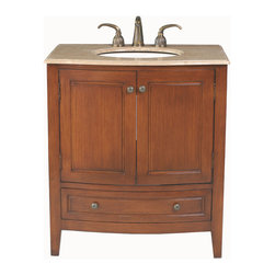 "Stufurhome - 32"" Stufurhome Single Sink Bathroom Vanity With Travertine Marble Top - Superb styling is evident in the 32"" Stufurhome Single Sink Bathroom Vanity, featuring time-honored, traditional elegance. The dark wood finish provides a stately appearance, while the travertine marble lends a modern touch. Handcrafted with patience and attention to detail, this vanity provides an array of storage possibilities, with two doors, a shelf and a lower drawer, all adorned with classic knob-style hardware.  Make your bathroom truly remarkable with the addition of this exclusive vanity."