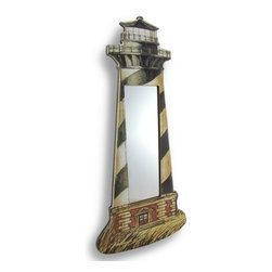 Zeckos - Wooden Lighthouse Mirror Wall Accent - Lighthouses have long since been a sign of refuge to weary sailors braving the roughest of seas, and you can bring this symbol of comfort into your home to greet you with the same feeling of coziness when you open your door after a long tough day. This charming lighthouse mirror also adds a nautical element to your walls and your home, and would look amazing in an entryway, bathroom, living room or bedroom. Crafted from wood, it measures 23 3/8 inches high, 11 1/8 inches wide and sits almost flush with the wall at only 3/8 inches deep, and easily hangs using a single nail or screw via the attached hanger on the back. The mirrored glass insert removes from the back to make cleaning a breeze, and would make a wonderful gift for any nautical decor admirers or lighthouse collecting friends or family.
