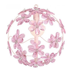 """Pink Chloe Chandelier - There's just something about a floating floral sphere light fixture that provides a feeling of calmness and peacefulness. For added """"wow"""" factor, combine a few in different colors at various lengths to create a one-of-a-kind style."""