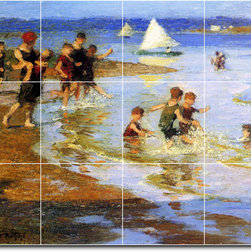 Picture-Tiles, LLC - Children At Play On The Beach Tile Mural By Edward Potthast - * MURAL SIZE: 12.75x17 inch tile mural using (12) 4.25x4.25 ceramic tiles-satin finish.