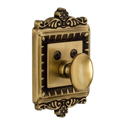 Nostalgic Warehouse - Nostalgic Egg and Dart Single Cylinder Deadbolt Keyed Alike in Antique Brass - With its distinctive repeating border detail, as well as floral crown and foot, the Egg and Dart Single Cylinder Deadbolt in antique brass resonates grand style. Keyed alike. Made of solid (not plated) forged brass for durability and beauty.