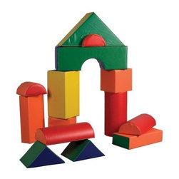 ECR4KIDS 14 Piece Jumbo Soft Blocks - Let your children's imagination run free with the ECR4KIDS 14 Piece Jumbo Soft Blocks. Designed to stimulate your kids' gross and motor skills this set is suitable for pre-schoolers. All the pieces feature bright primary colors which are perfect for catching children's attention. These pieces are filled with soft polyurethane foam and clad in reinforced phthalate-free vinyl for durability. In addition this GREENGUARD-certified set is CPSIA-compliant for safety and adheres to CA-117 requirements for fire retardancy. About Early Childhood ResourcesEarly Childhood Resources is a wholesale manufacturer of early childhood and educational products. It is committed to developing and distributing only the highest-quality products ensuring that these products represent the maximum value in the marketplace. Combining its responsibility to the community and its desire to be environmentally conscious Early Childhood Resources has eliminated almost all of its cardboard waste by implementing commercial Cardboard Shredding equipment in its facilities. You can be assured of maximum value with Early Childhood Resources.